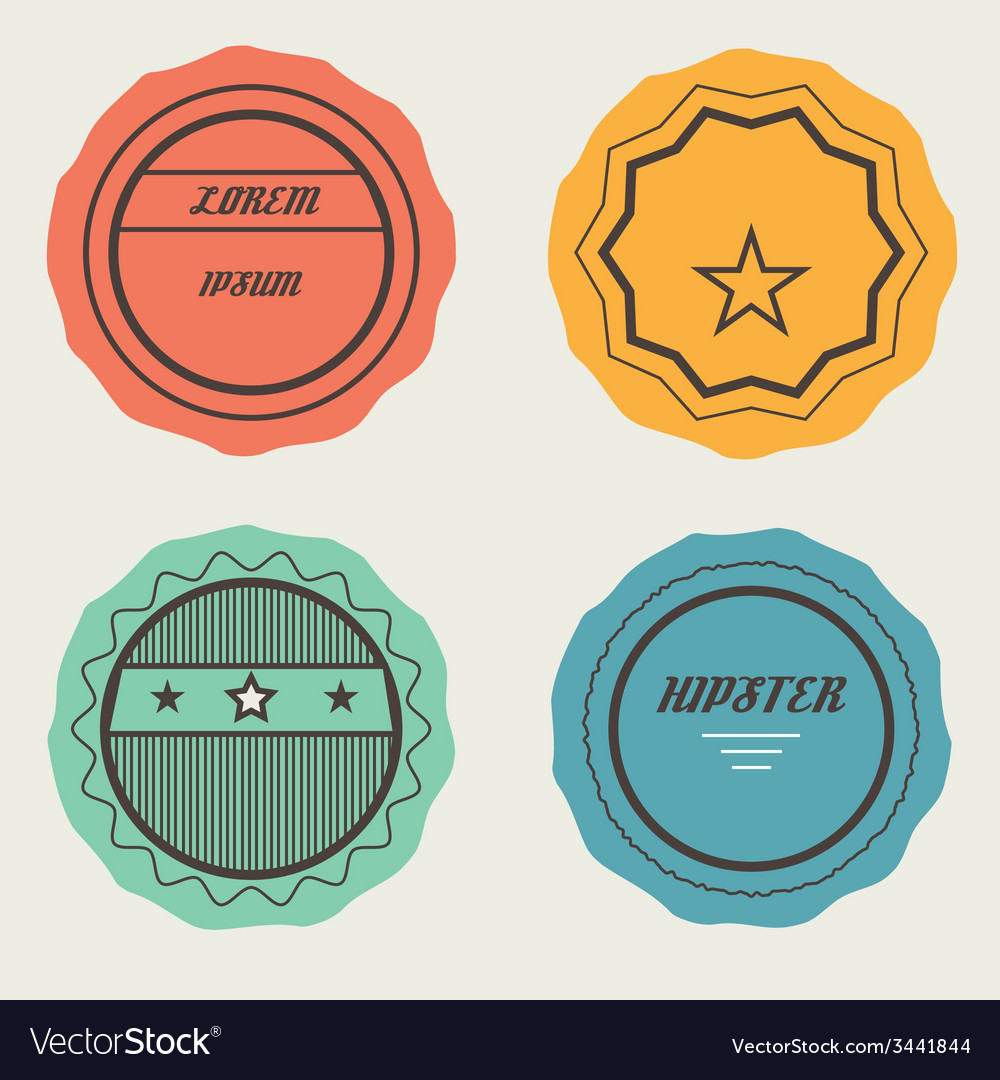 Set of retro stamps and badges vector | Price: 1 Credit (USD $1)