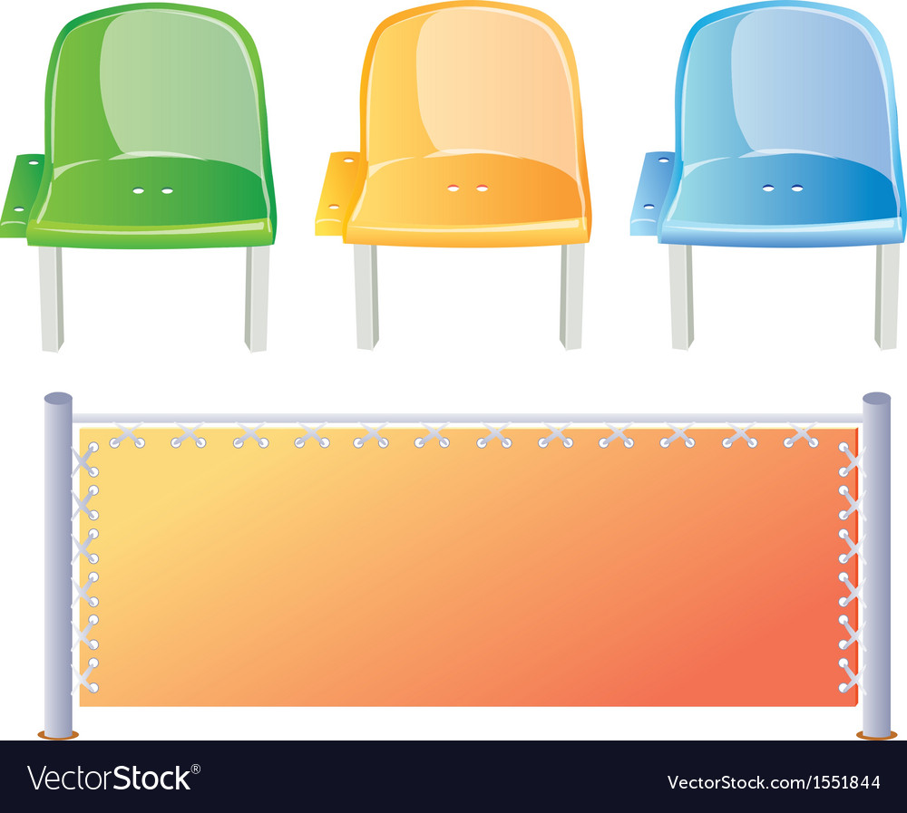 Three colored stadium seats and bord vector | Price: 1 Credit (USD $1)