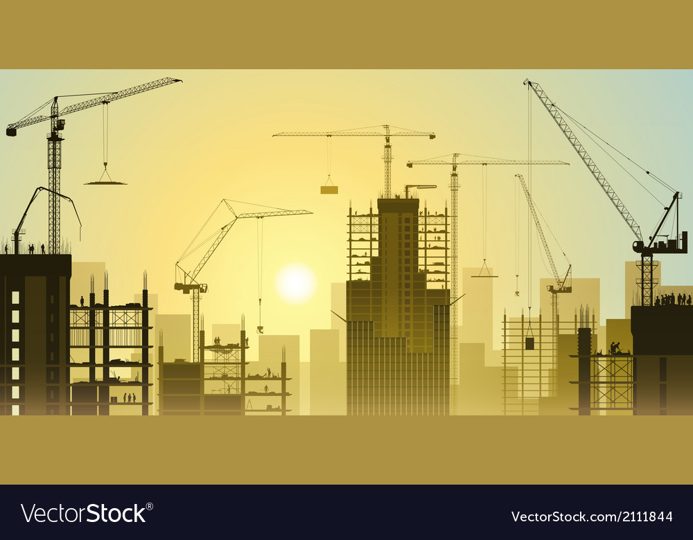Tower cranes vector | Price: 1 Credit (USD $1)