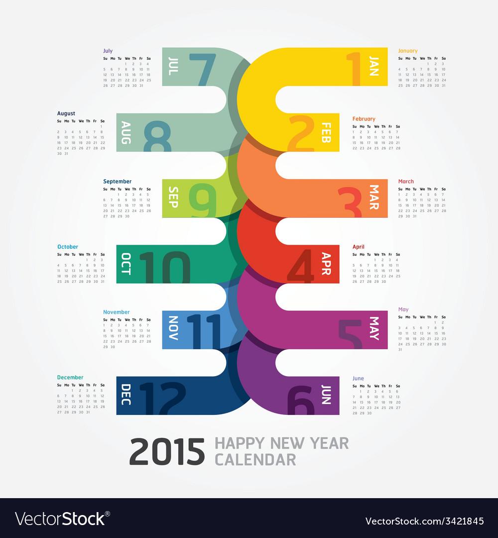 2015 calendar 2015 happy new year calendar vector | Price: 1 Credit (USD $1)