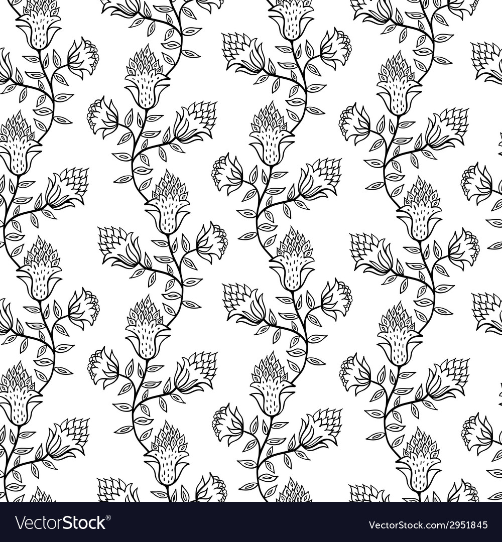 Black and white seamless pattern with flowers vector | Price: 1 Credit (USD $1)