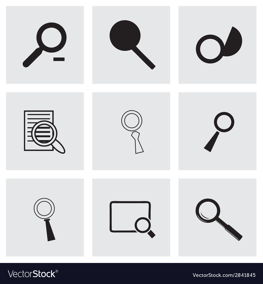 Black magnufying glass icons set vector   Price: 1 Credit (USD $1)