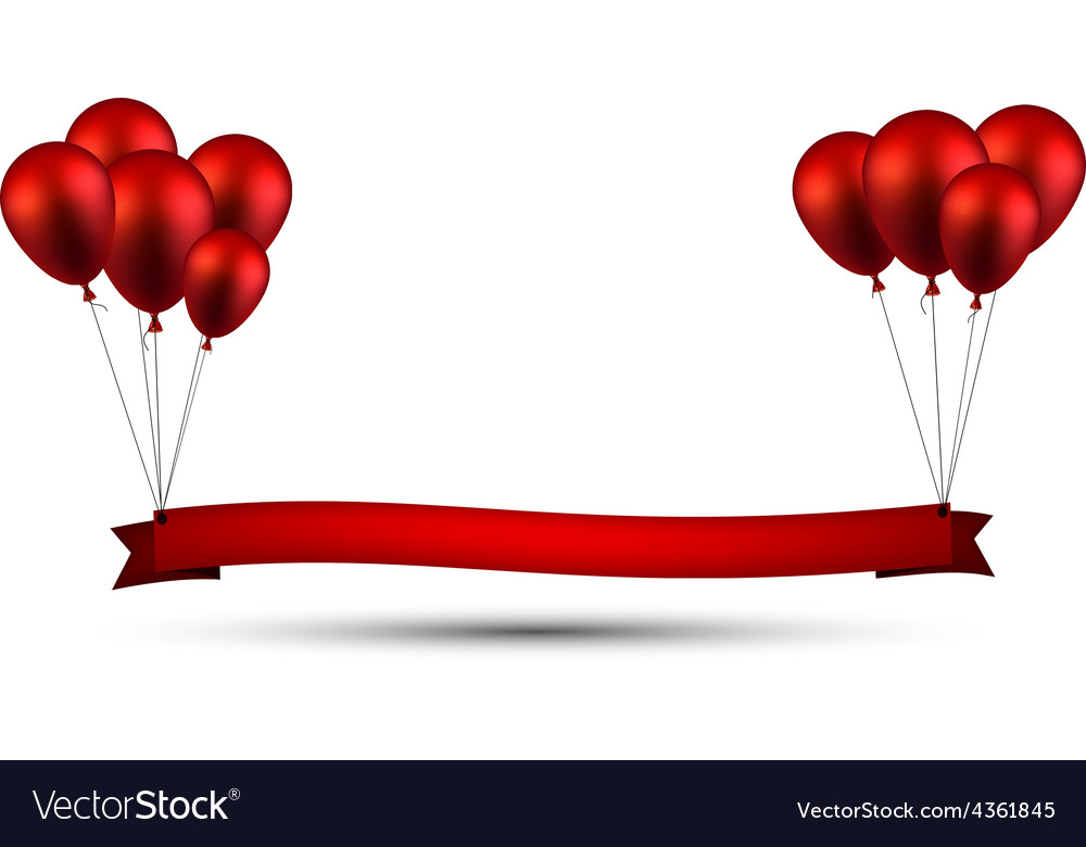 Celebrate red ribbon background with balloons vector | Price: 1 Credit (USD $1)
