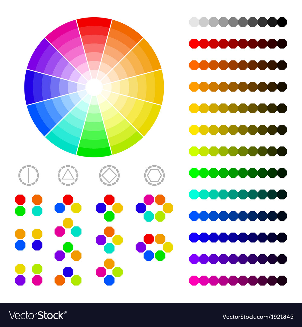 Color wheel with shade of colorscolor harmony vector | Price: 1 Credit (USD $1)