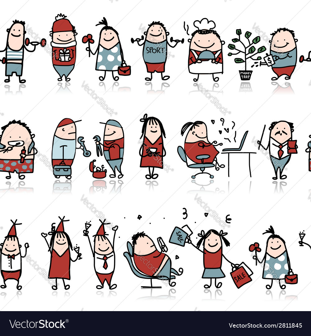 Funny peoples seamless pattern for your design vector