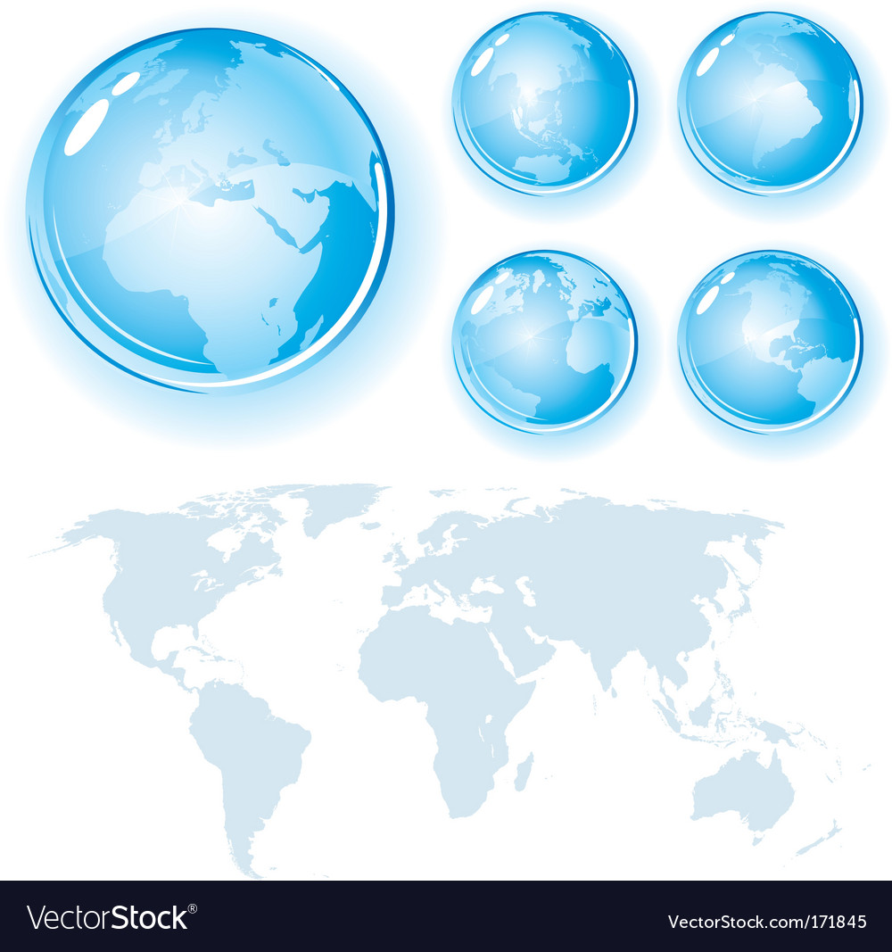 Globes and map vector | Price:  Credit (USD $)