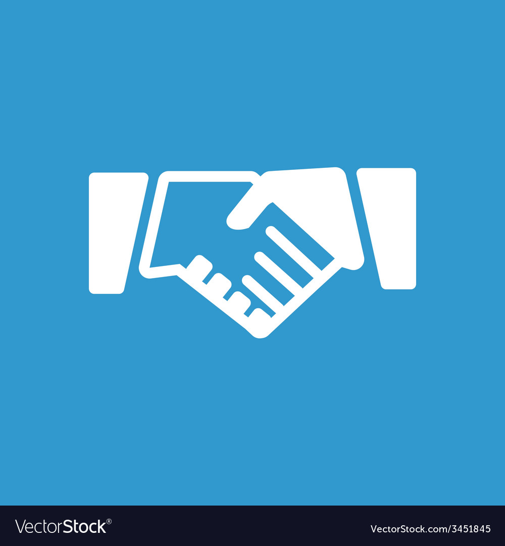 Handshake icon white on the blue background vector | Price: 1 Credit (USD $1)