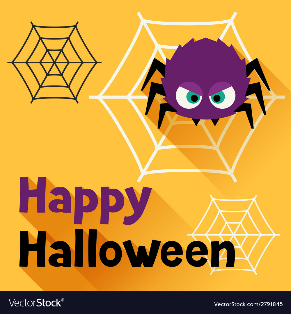 Happy halloween greeting card in flat design style vector | Price: 1 Credit (USD $1)