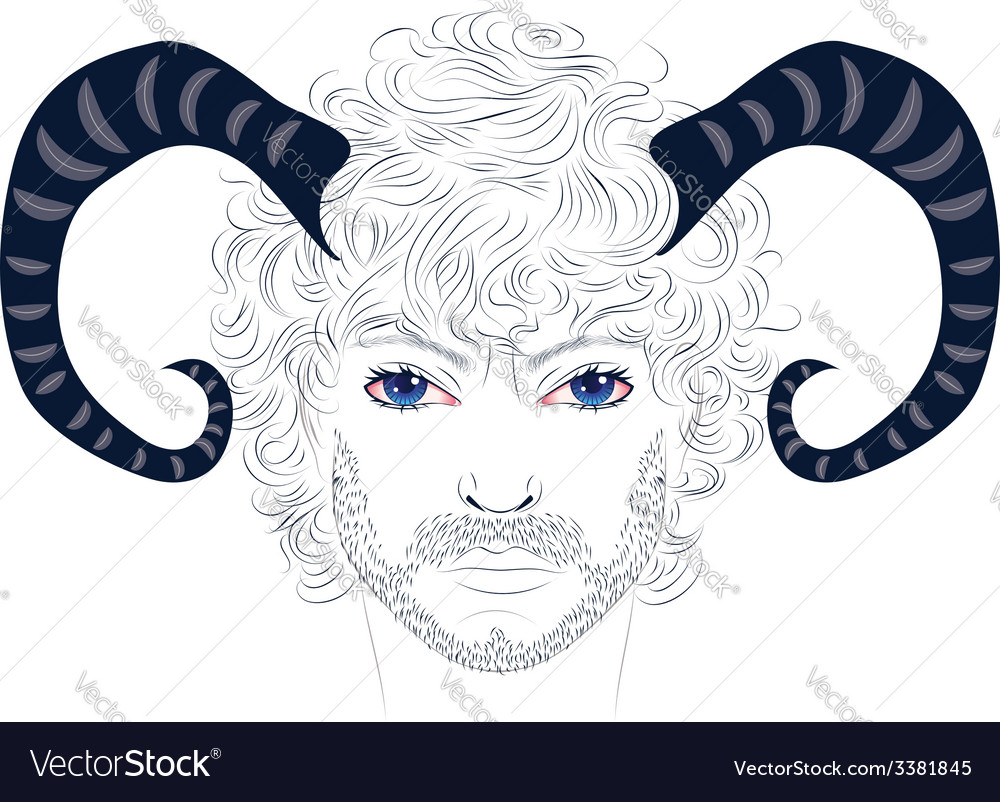 Man with horns vector | Price: 1 Credit (USD $1)
