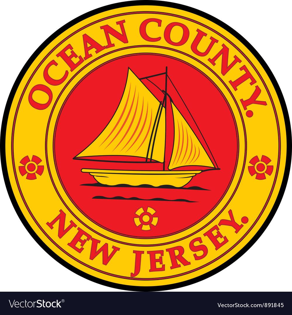 Ocean county seal vector | Price: 1 Credit (USD $1)