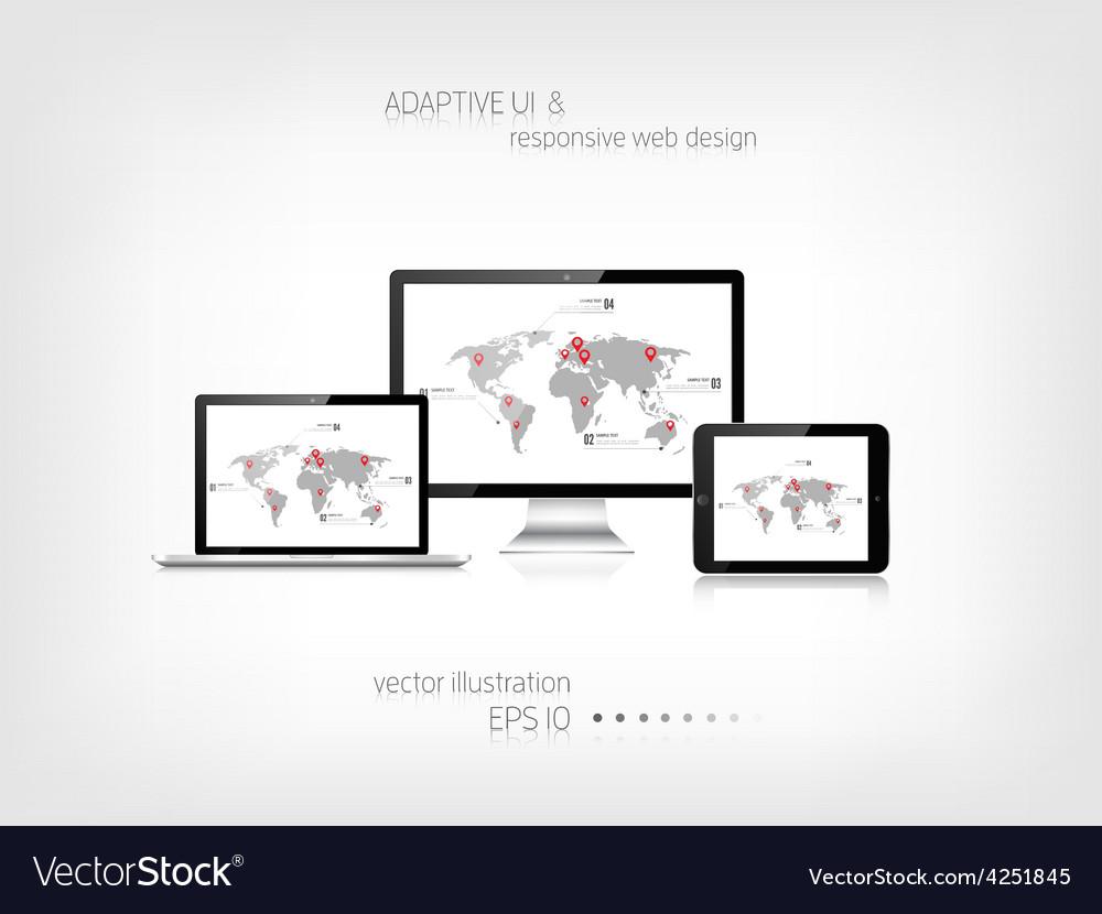 Responsive web design adaptive user interface vector | Price: 1 Credit (USD $1)