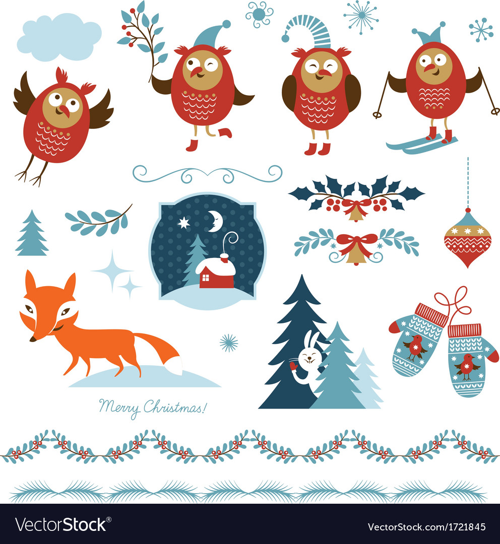 Set of christmas graphic elements vector | Price: 1 Credit (USD $1)
