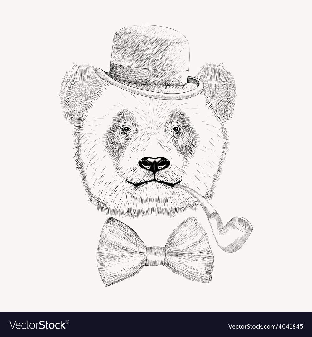 Sketch panda face with black bowler hat bow tie vector | Price: 1 Credit (USD $1)