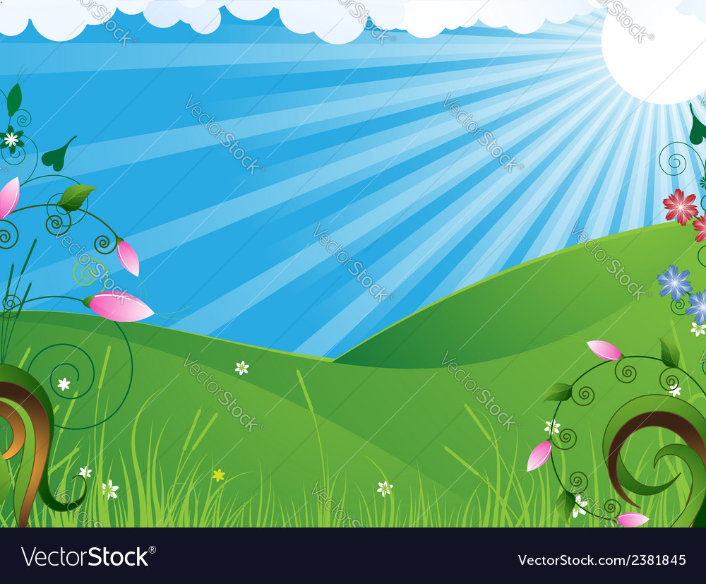 Sunny rural landscape vector | Price: 1 Credit (USD $1)