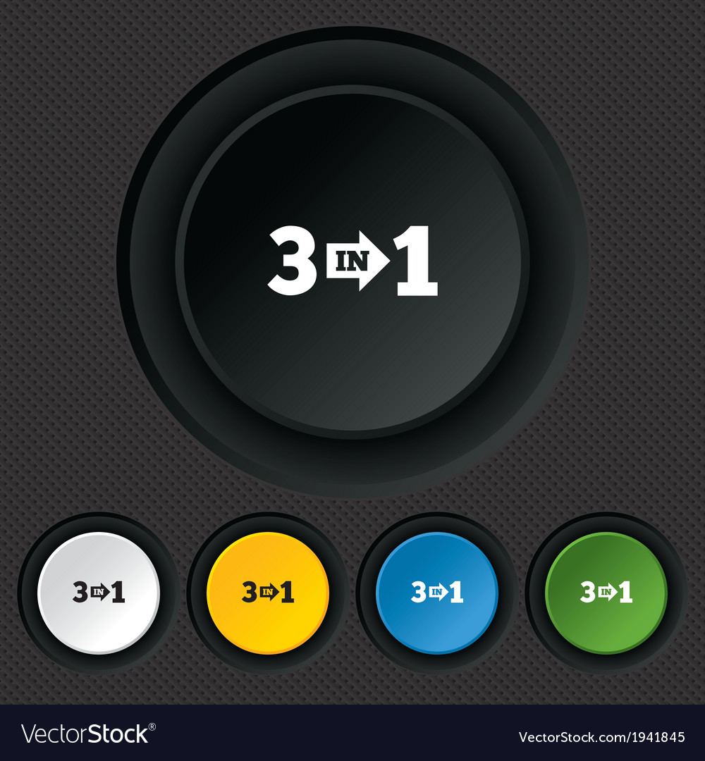 Three in one sign icon 3 in 1 symbol with arrow vector   Price: 1 Credit (USD $1)