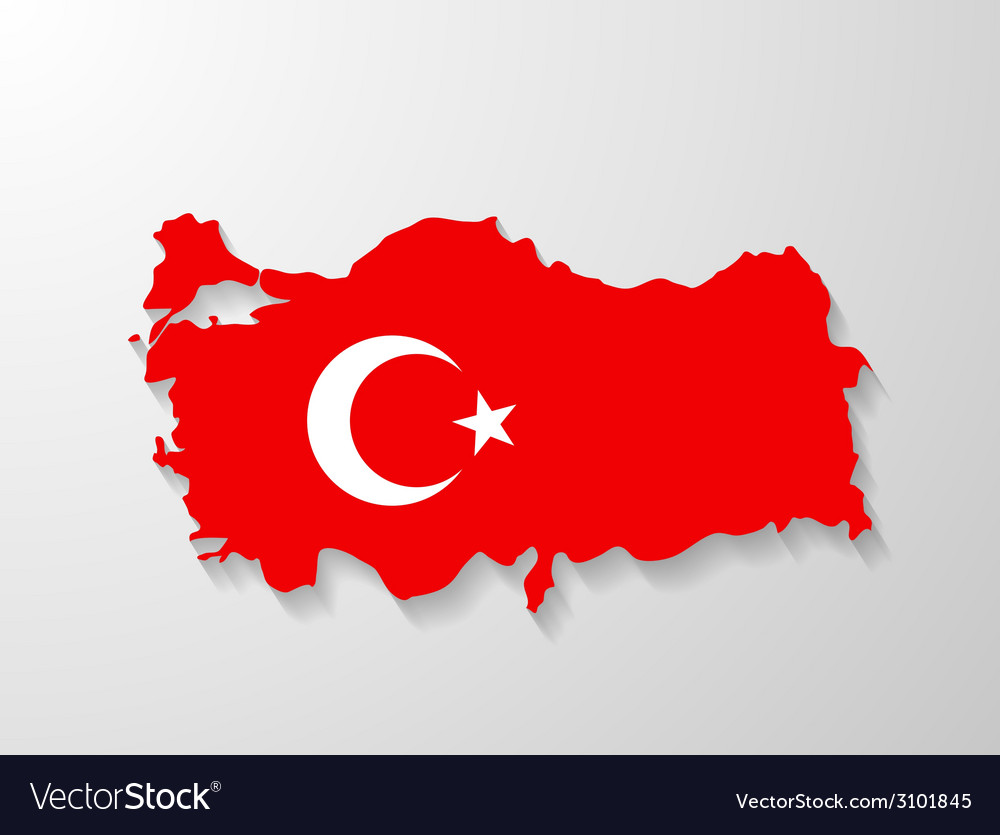 Turkey flag map with shadow effect vector | Price: 1 Credit (USD $1)