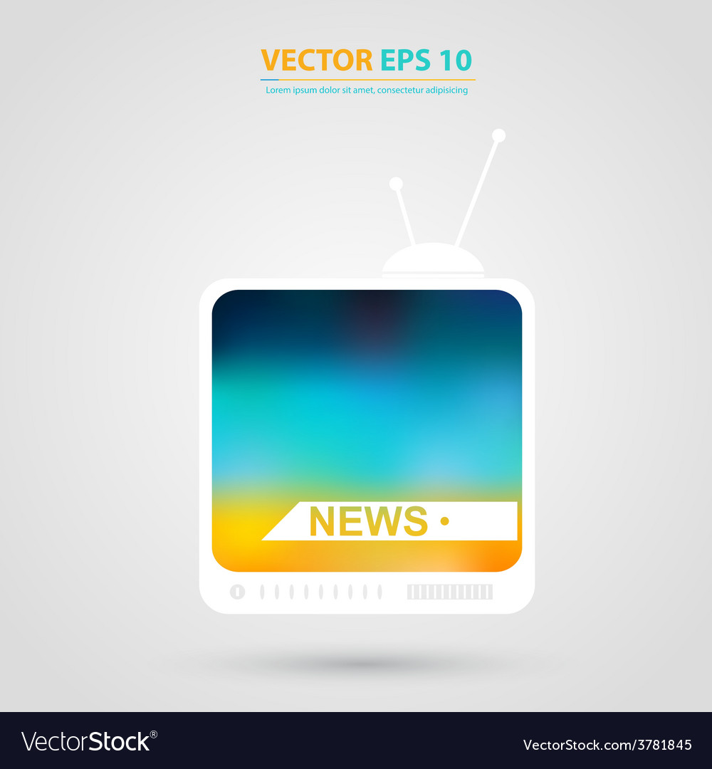 Tv icon tv set with isolated vector | Price: 1 Credit (USD $1)