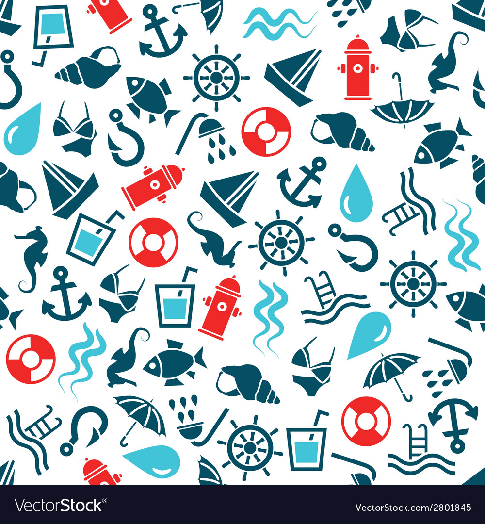 Water seamless pattern vector | Price: 1 Credit (USD $1)