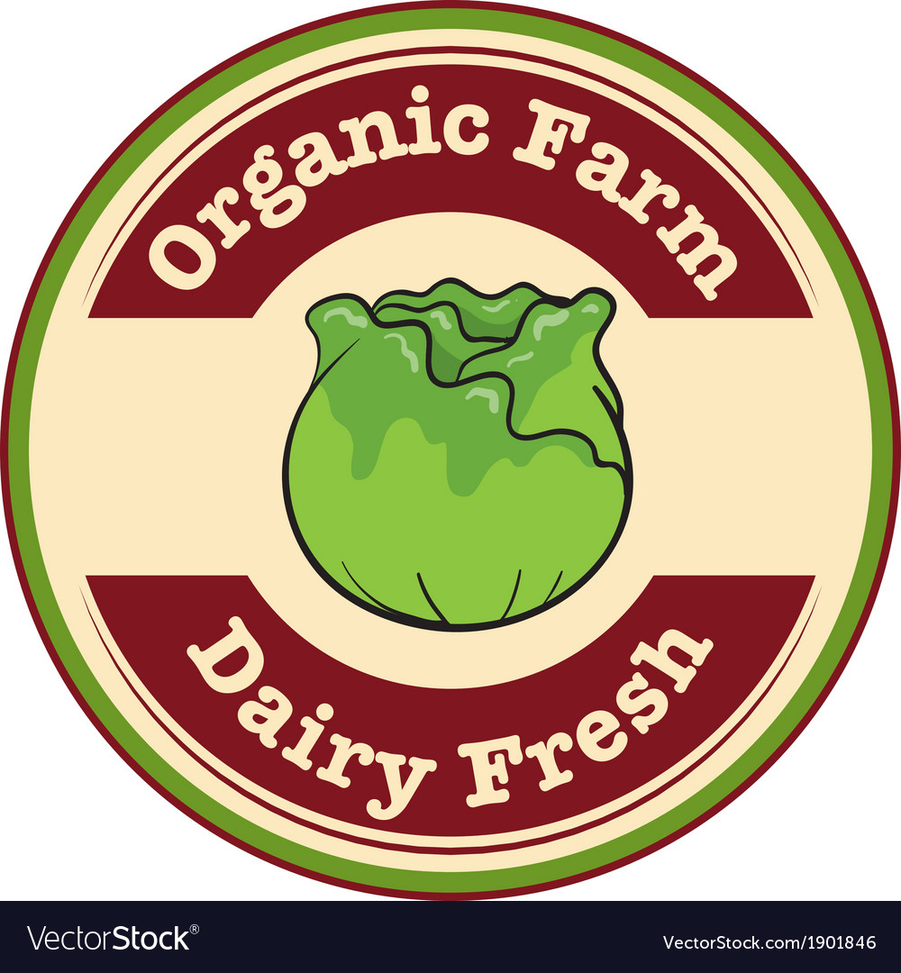 An organic farm and dairy fresh label vector | Price: 1 Credit (USD $1)