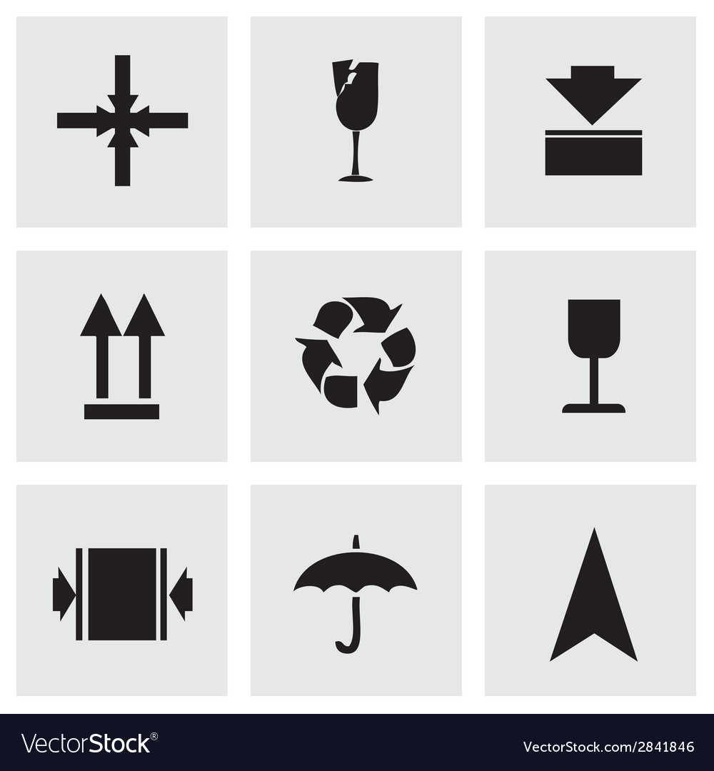 Black marking of cargo icons set vector   Price: 1 Credit (USD $1)