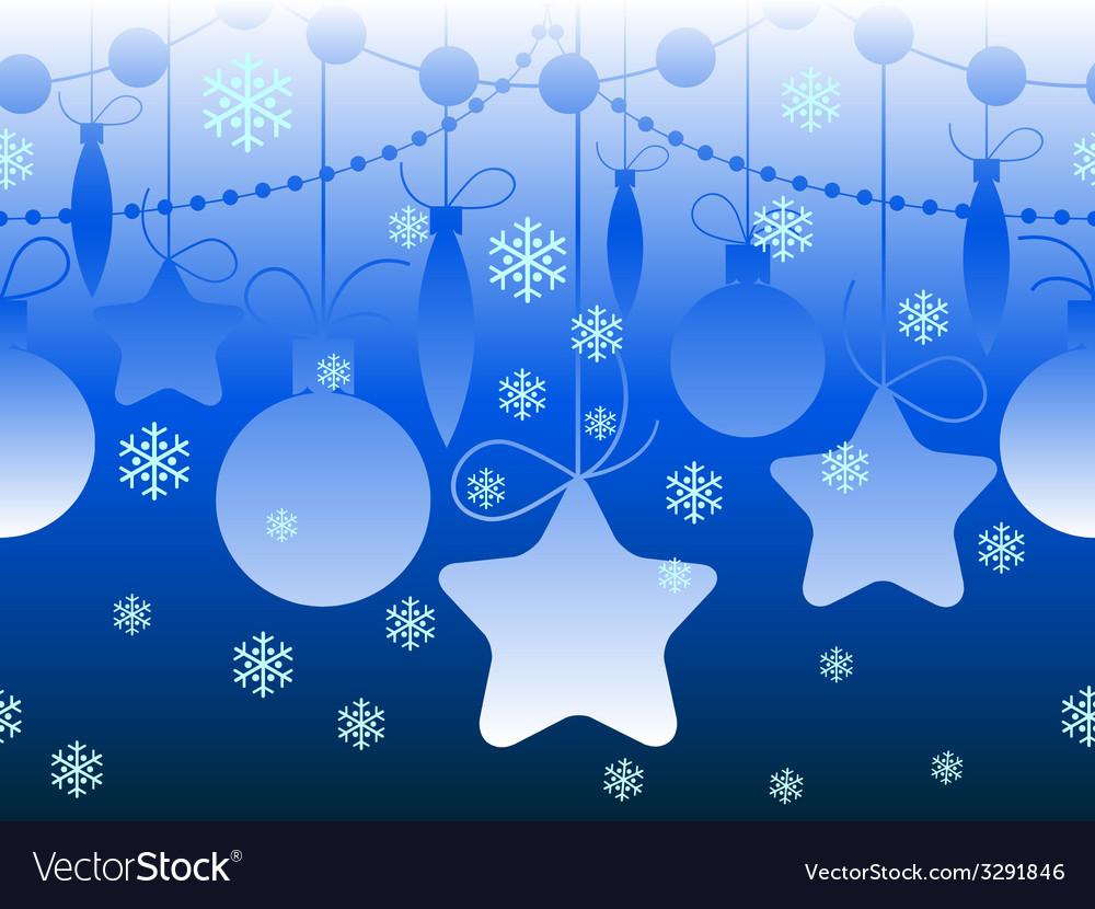 Christmas seamless horizontal blue pattern vector | Price: 1 Credit (USD $1)