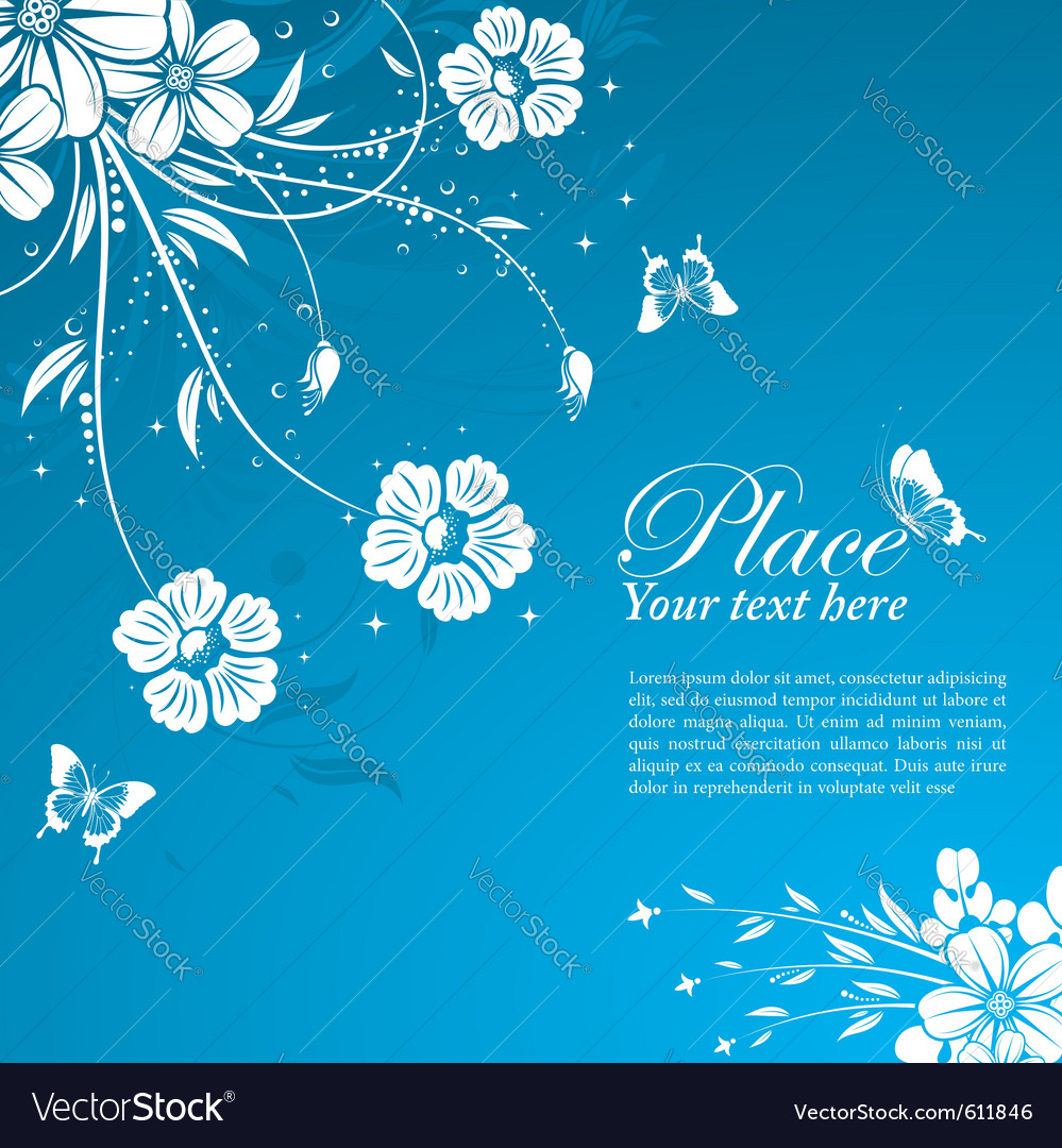 Floral background with butterflies vector | Price: 1 Credit (USD $1)