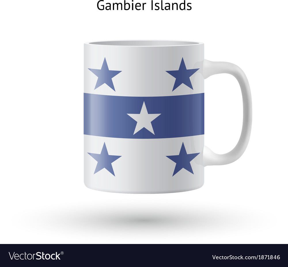 Gambier islands flag souvenir mug on white vector   Price: 1 Credit (USD $1)