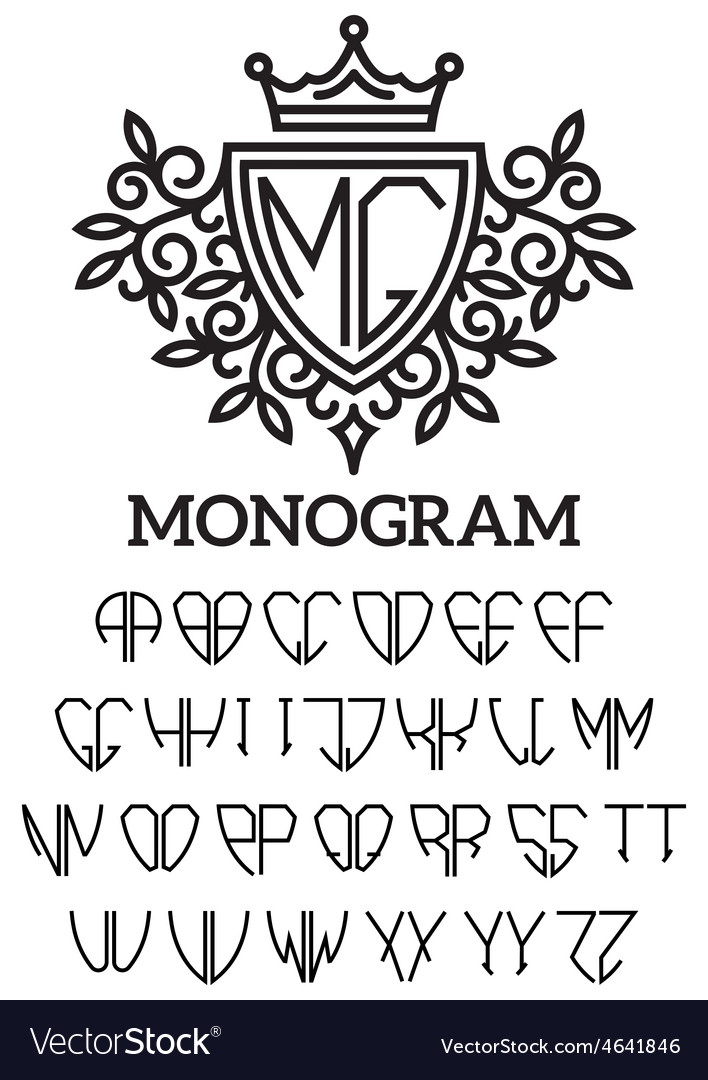 Heraldic template monogram with the bilateral vector | Price: 1 Credit (USD $1)