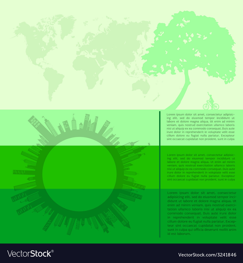 Infographics green modern city living concept vector | Price: 1 Credit (USD $1)