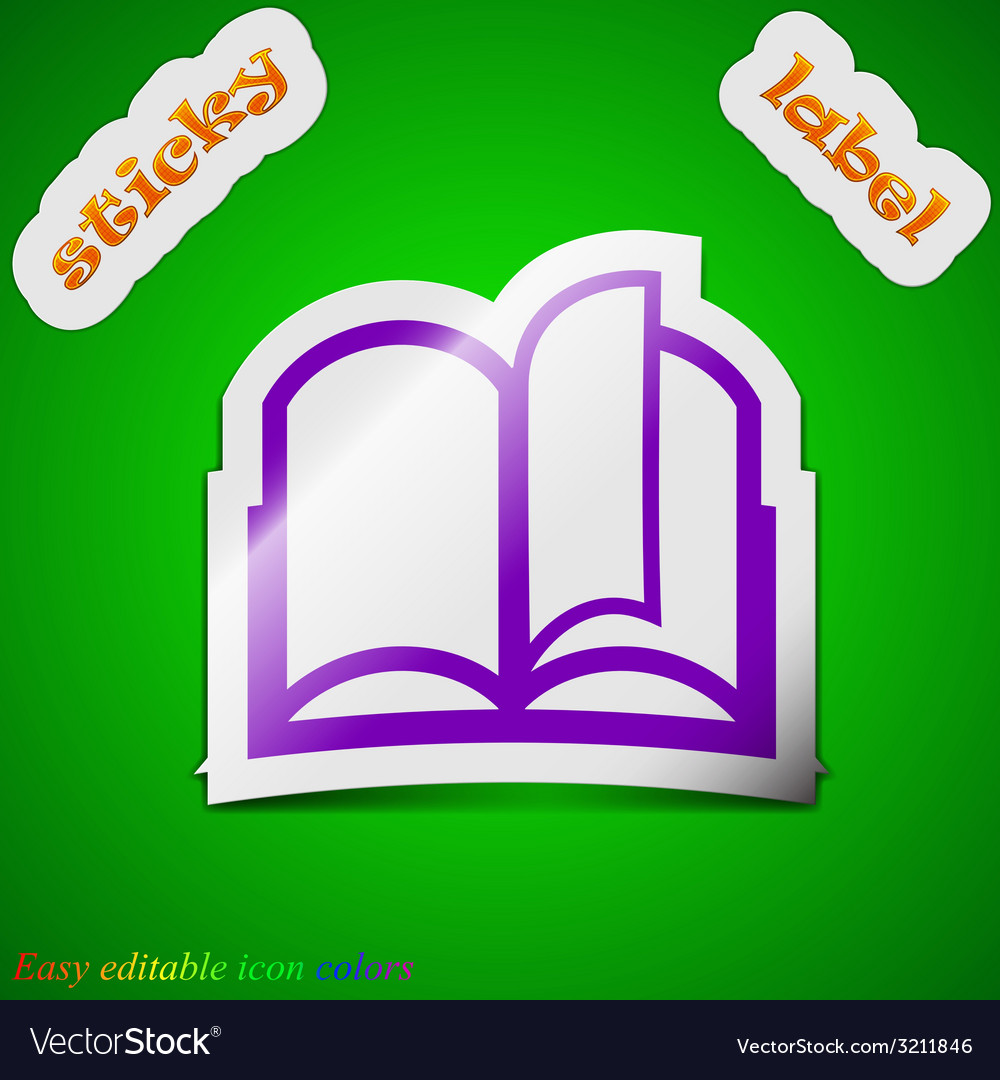 Open book icon sign symbol chic colored sticky vector | Price: 1 Credit (USD $1)
