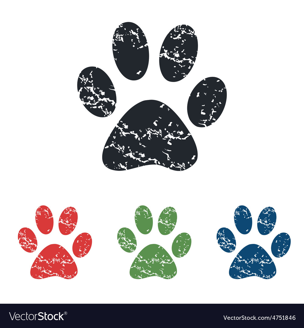 Paw grunge icon set vector | Price: 1 Credit (USD $1)