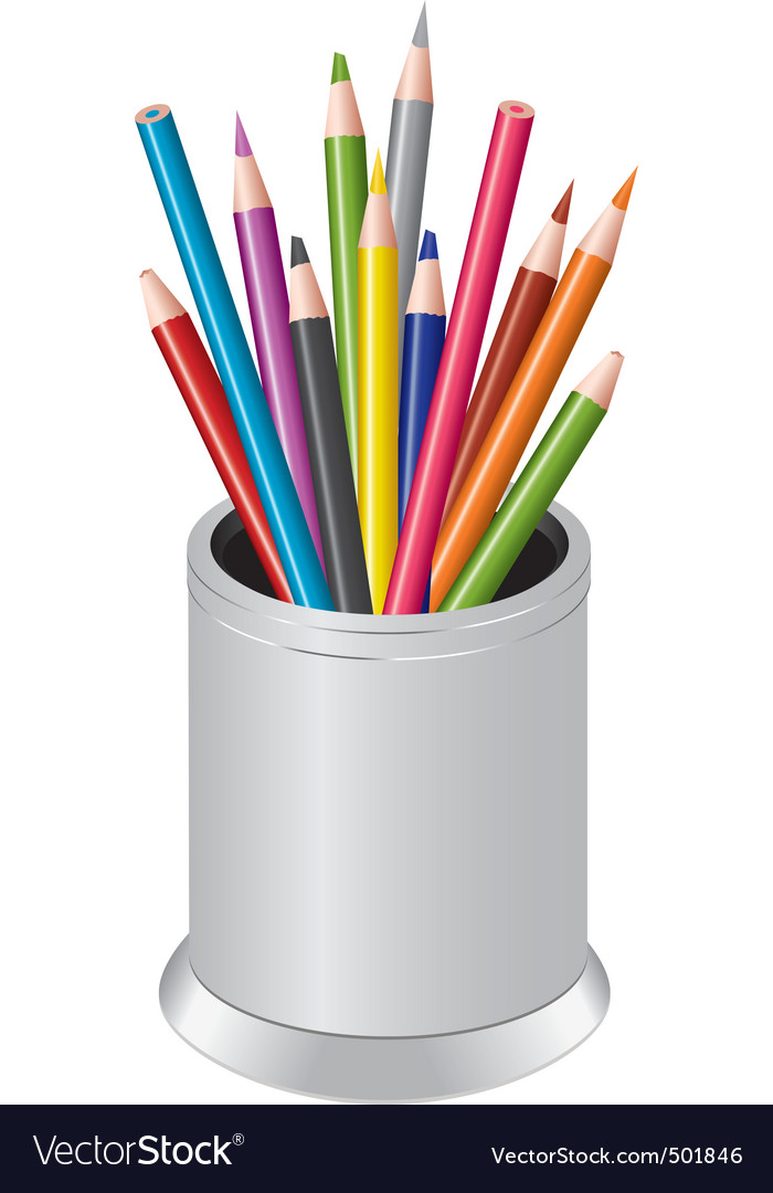 Pencils in a pen cup vector | Price: 1 Credit (USD $1)