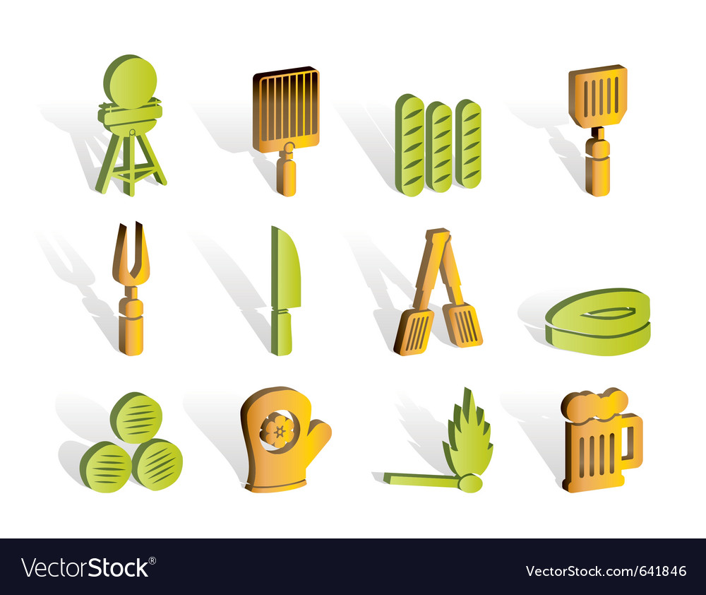Picnic and grill icons vector | Price: 1 Credit (USD $1)