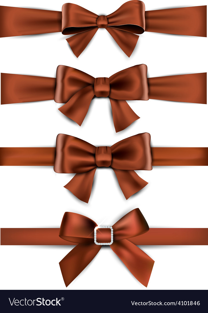 Satin brown ribbons gift bows vector | Price: 1 Credit (USD $1)