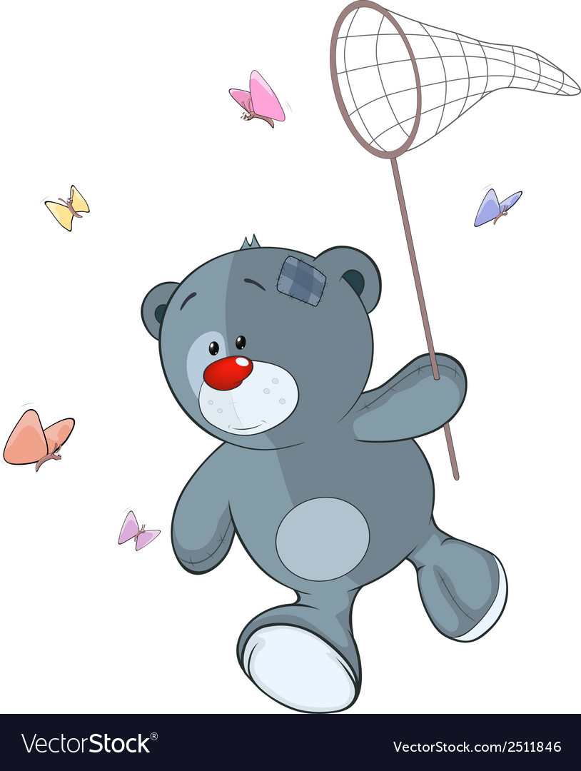 The stuffed toy bear cub and butterfly net cartoon vector | Price: 1 Credit (USD $1)