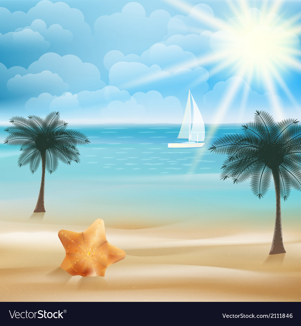 Tropical paradise beach with starfish vector | Price: 1 Credit (USD $1)