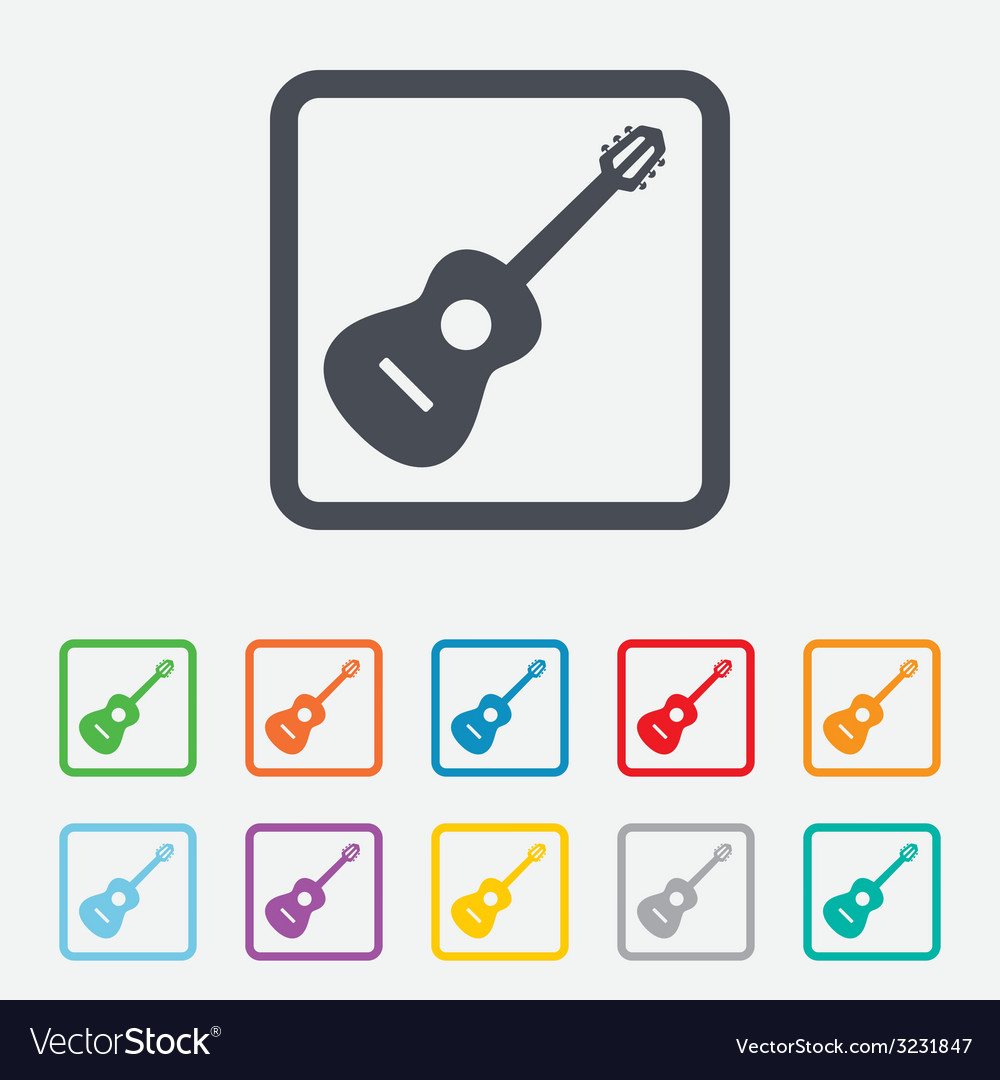 Acoustic guitar sign icon music symbol vector | Price: 1 Credit (USD $1)