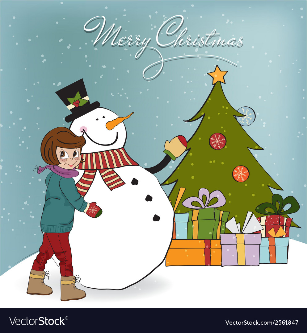 Cute little girl with snowman vector | Price: 1 Credit (USD $1)