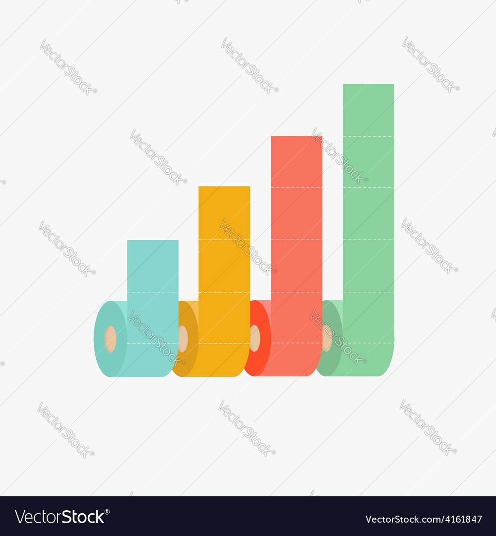 Four column toilet paper roll chart diagram dash vector | Price: 1 Credit (USD $1)