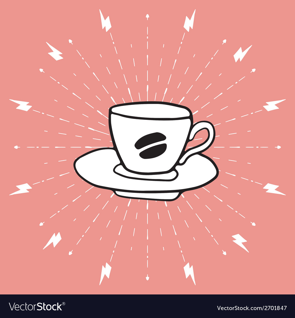 Hand drawn background with coffee cup vector | Price: 1 Credit (USD $1)
