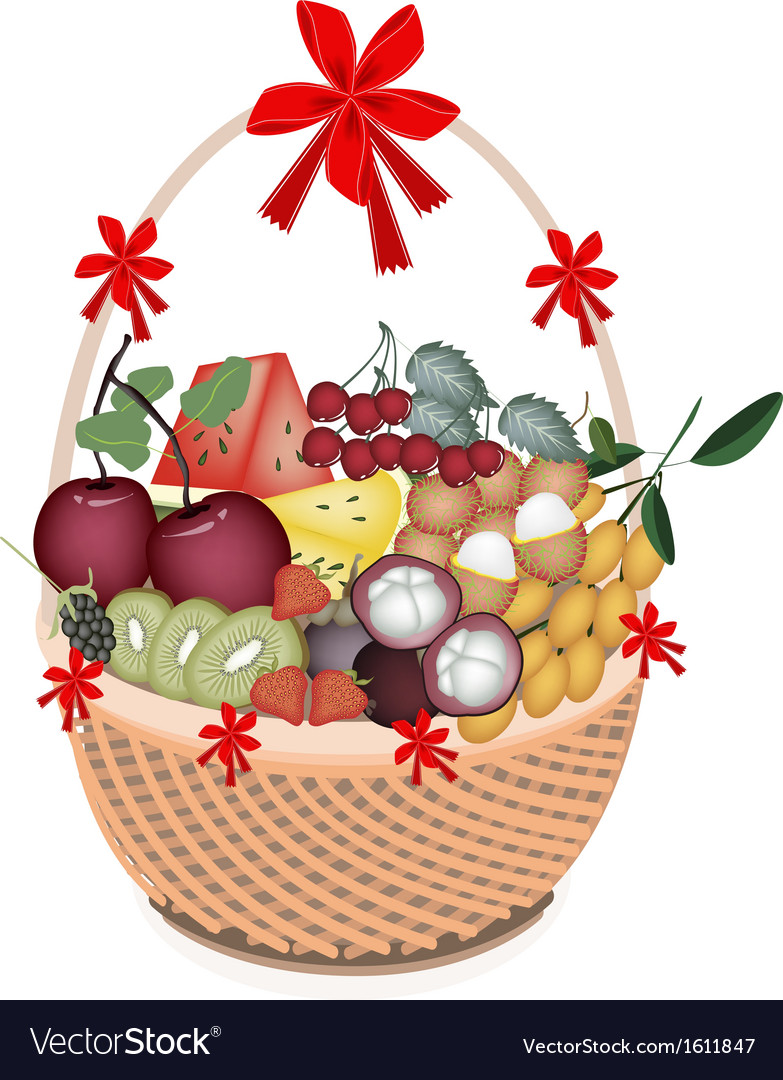 Health and nutrition fruit in gift basket vector | Price: 1 Credit (USD $1)