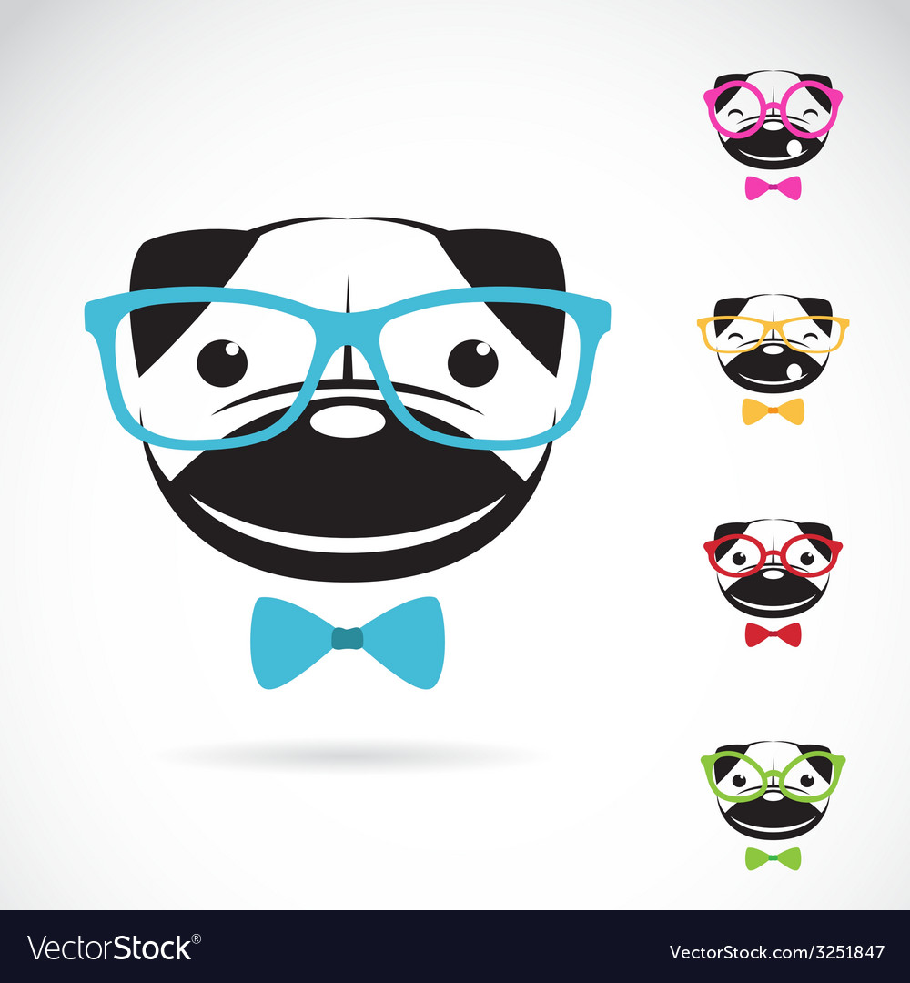 Images of pug dog wearing glasses vector | Price: 1 Credit (USD $1)