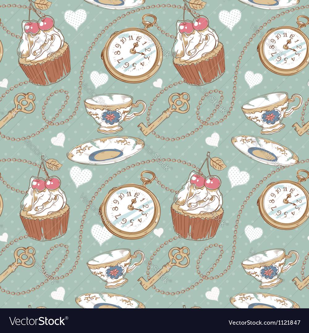 Romantic love vintage pattern vector | Price: 1 Credit (USD $1)