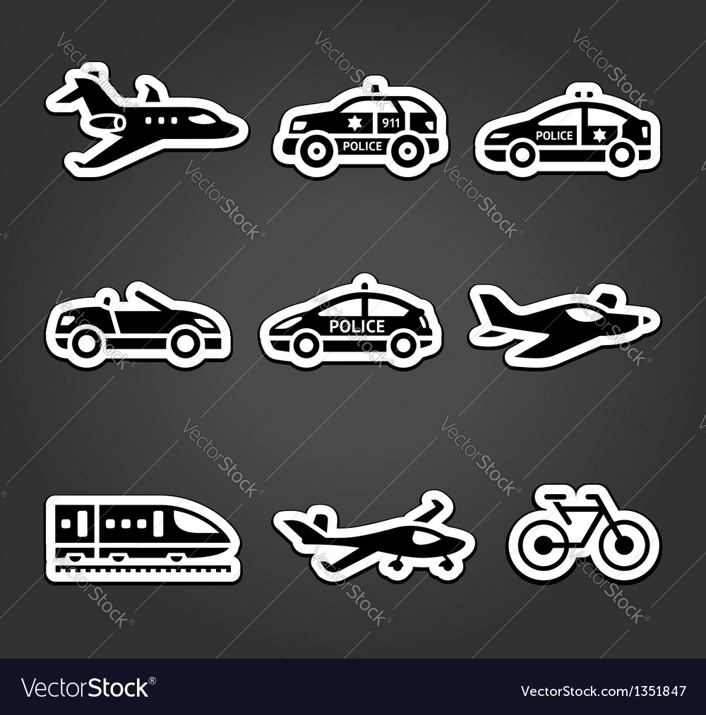 Set of sticky stickers transport pictograms vector | Price: 1 Credit (USD $1)