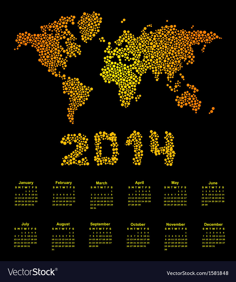 2014 calendar world map vector | Price: 1 Credit (USD $1)