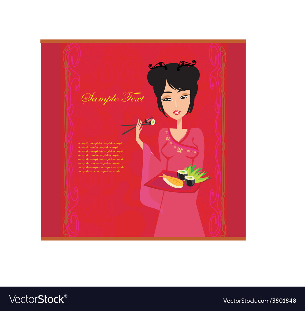 Beautiful asian girl enjoy sushi  menu template vector