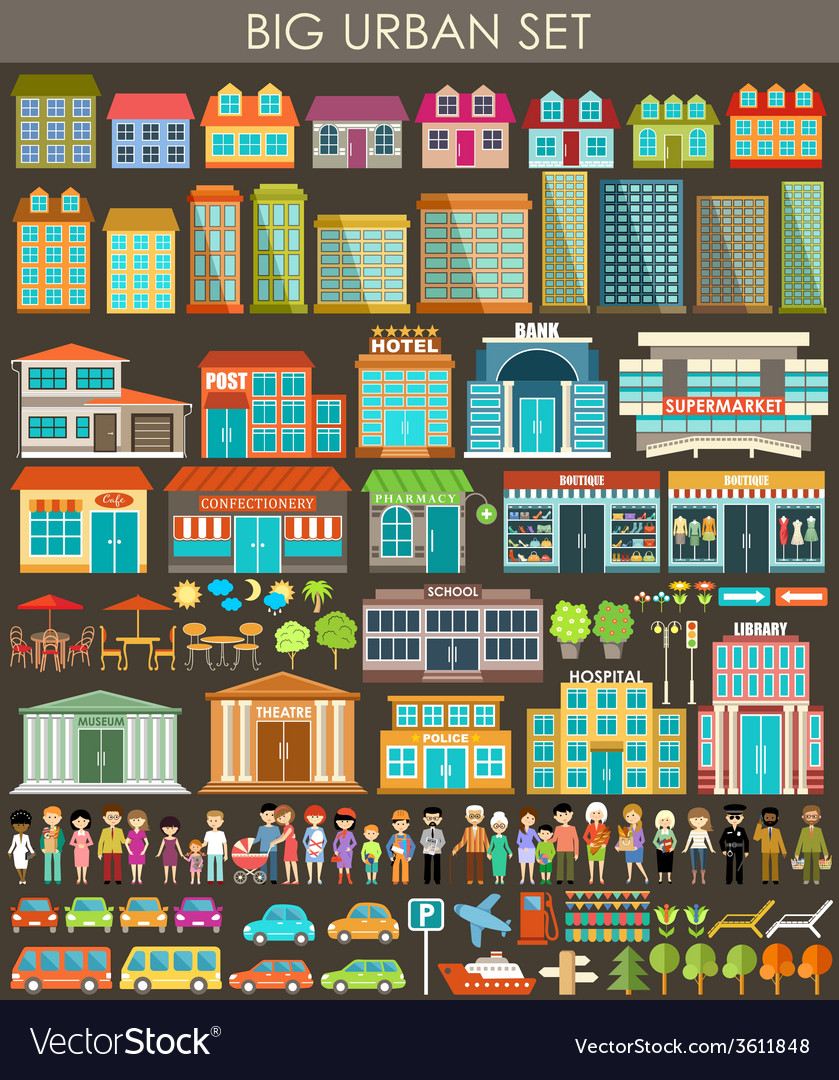 Big urban set vector | Price: 1 Credit (USD $1)
