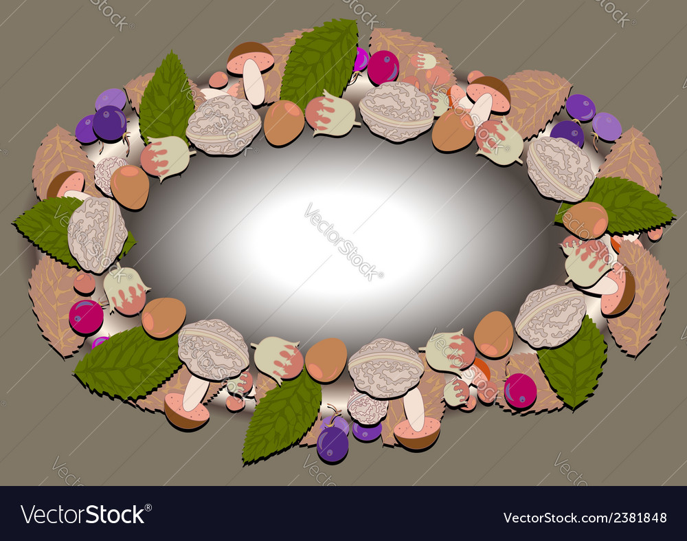 Oval frame of autumn forest vector | Price: 1 Credit (USD $1)