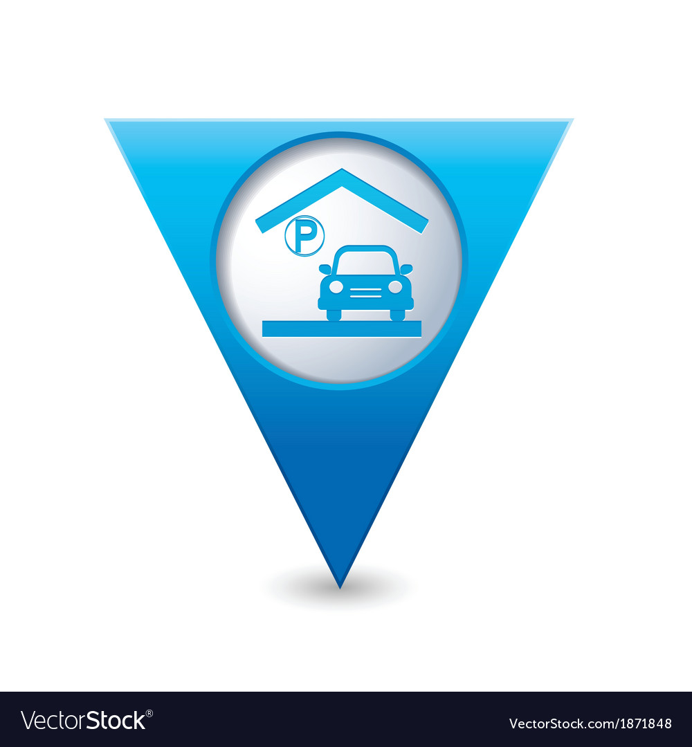 Parking under roof icon map pointer blue vector | Price: 1 Credit (USD $1)