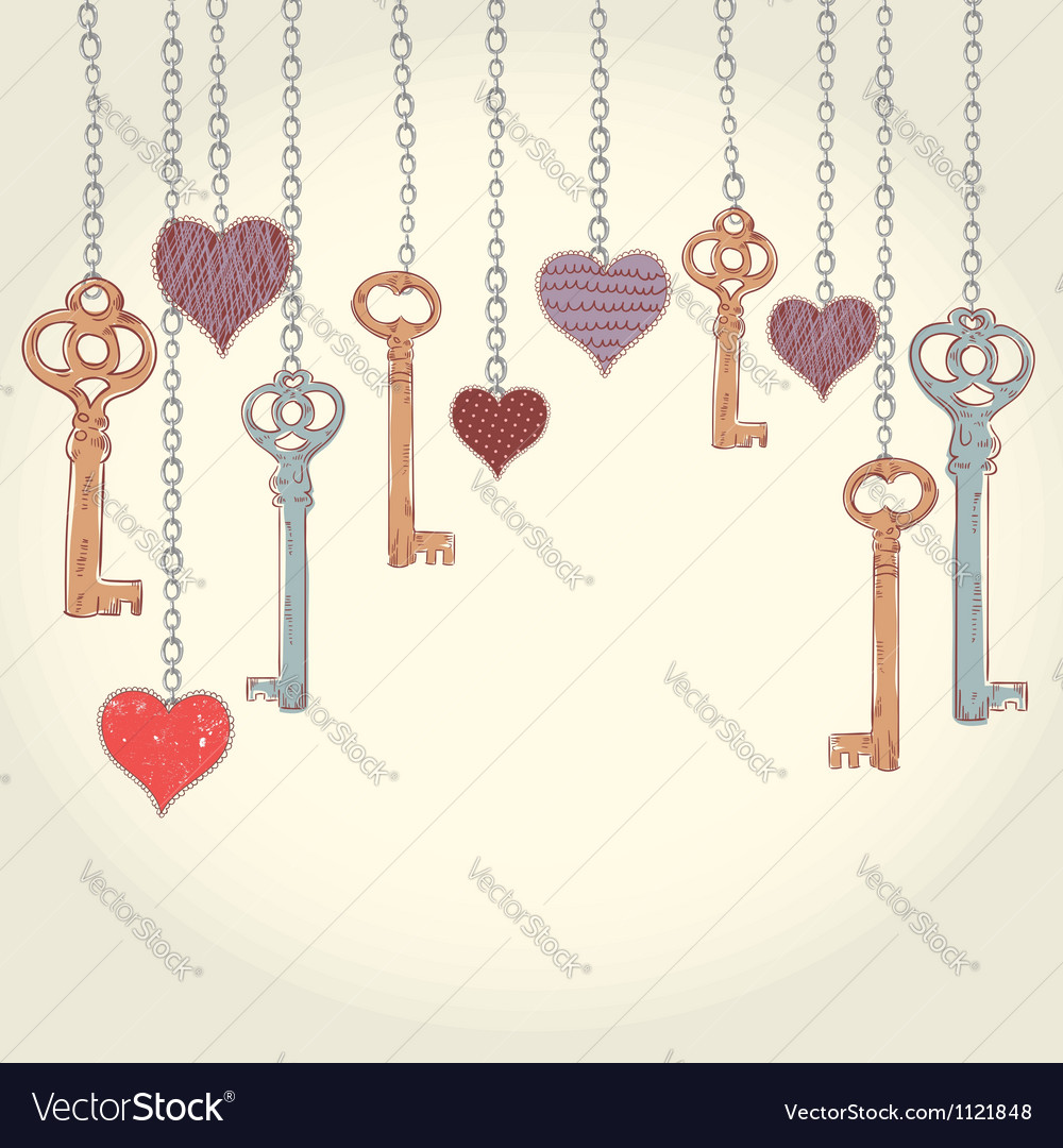 Romantic valentine invitation card with keys vector | Price: 1 Credit (USD $1)